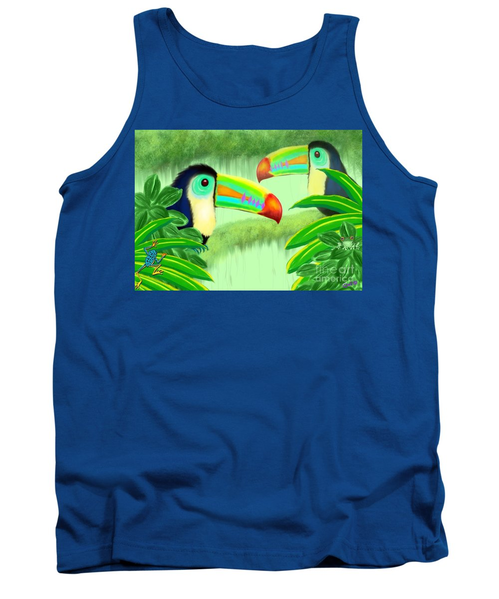 Toucans Tank Top featuring the painting Two Toucans by Nick Gustafson