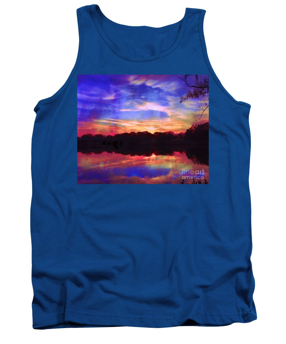 Twilight Tank Top featuring the photograph University Lakes At Twilight by Judi Bagwell