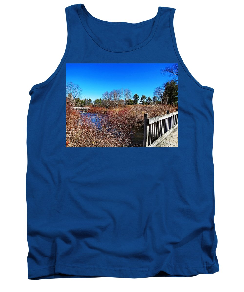 Ash Brook Tank Top featuring the photograph Walking The Bridge by MTBobbins Photography