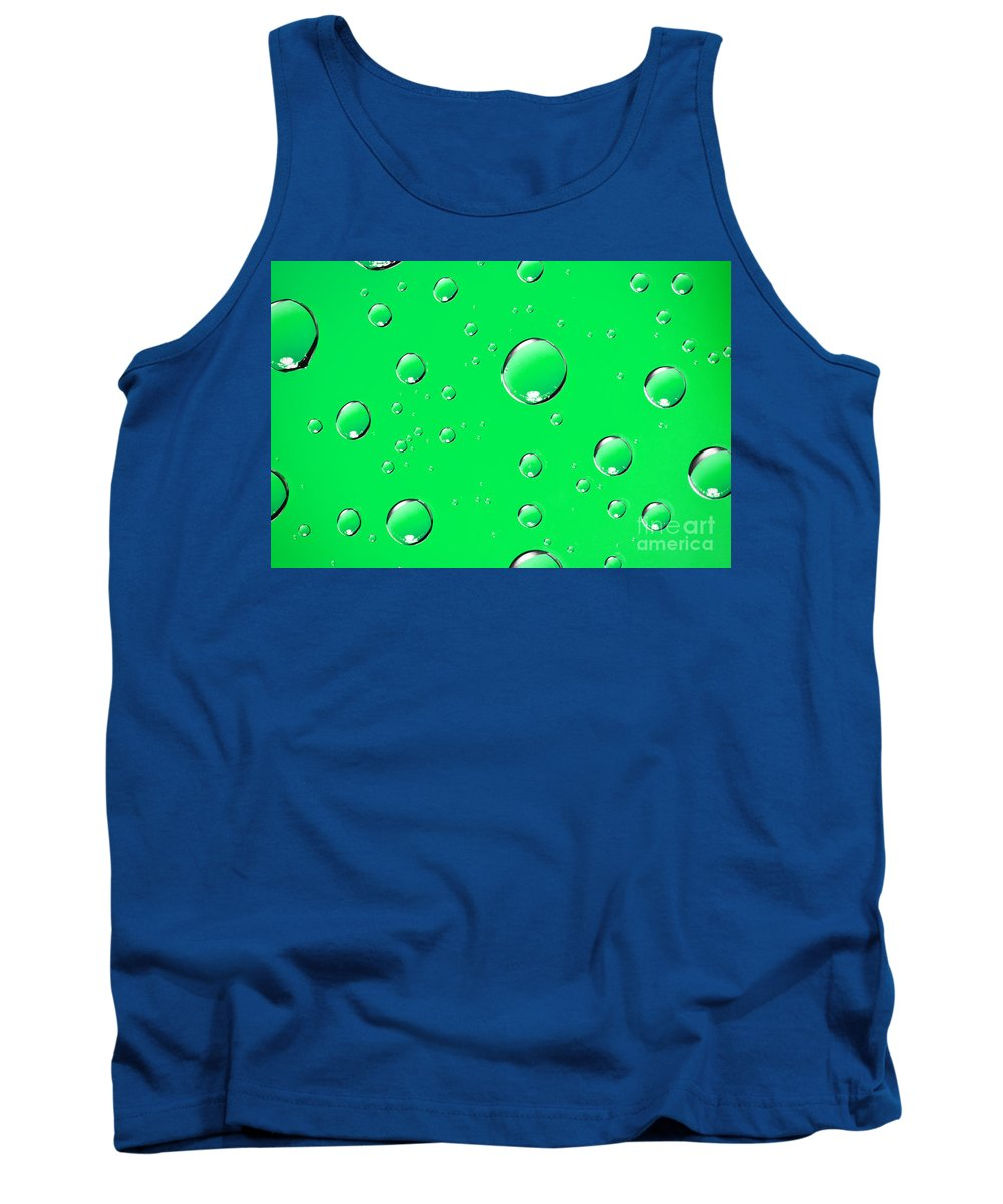 Water Tank Top featuring the photograph Water Drops On Green by Sharon Dominick