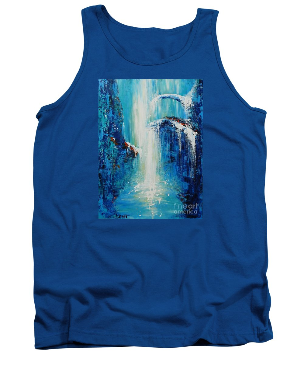 Waterfall Tank Top featuring the painting Waterfall by Dan Campbell