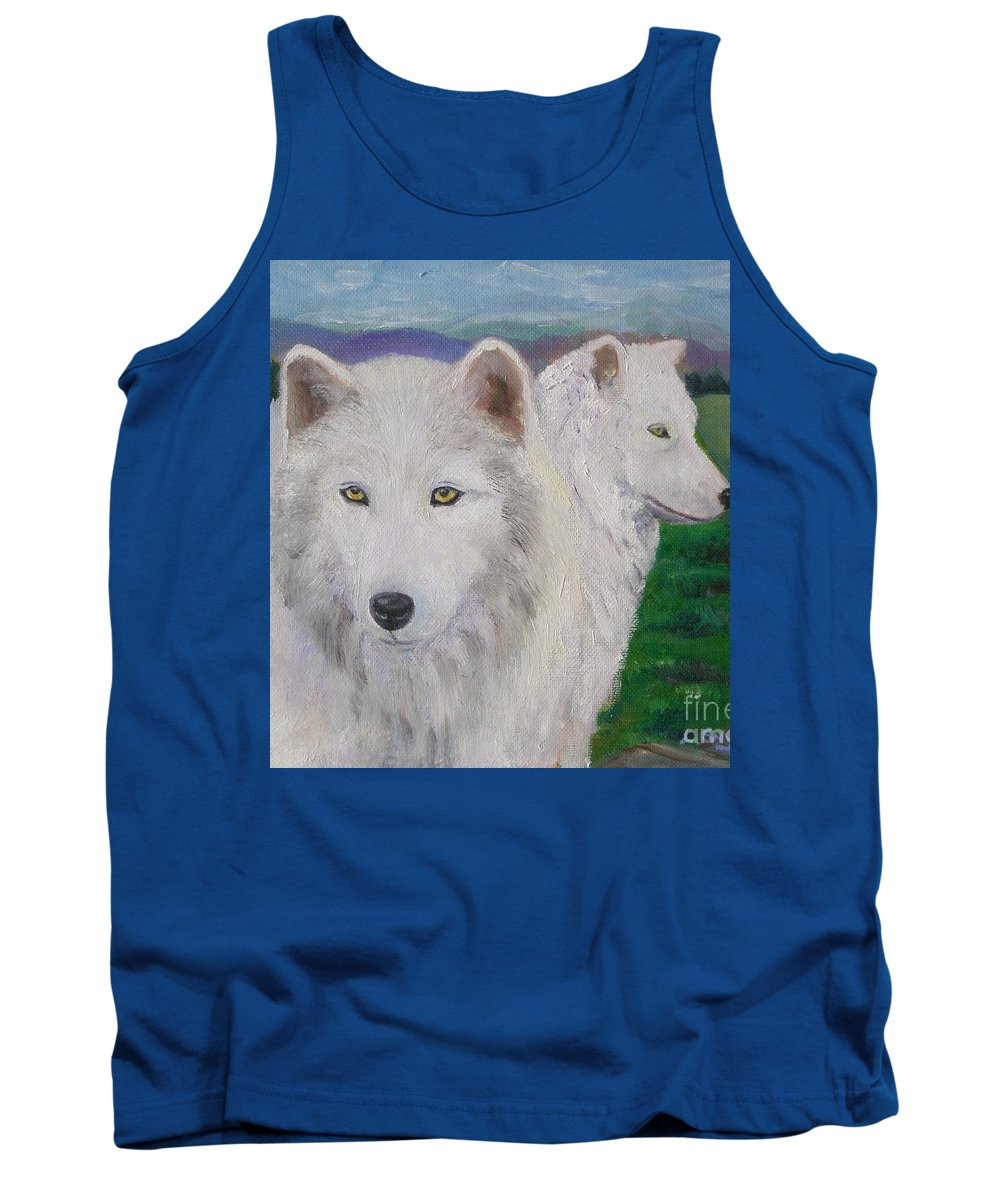 White Tank Top featuring the painting White Wolves by Liz Snyder