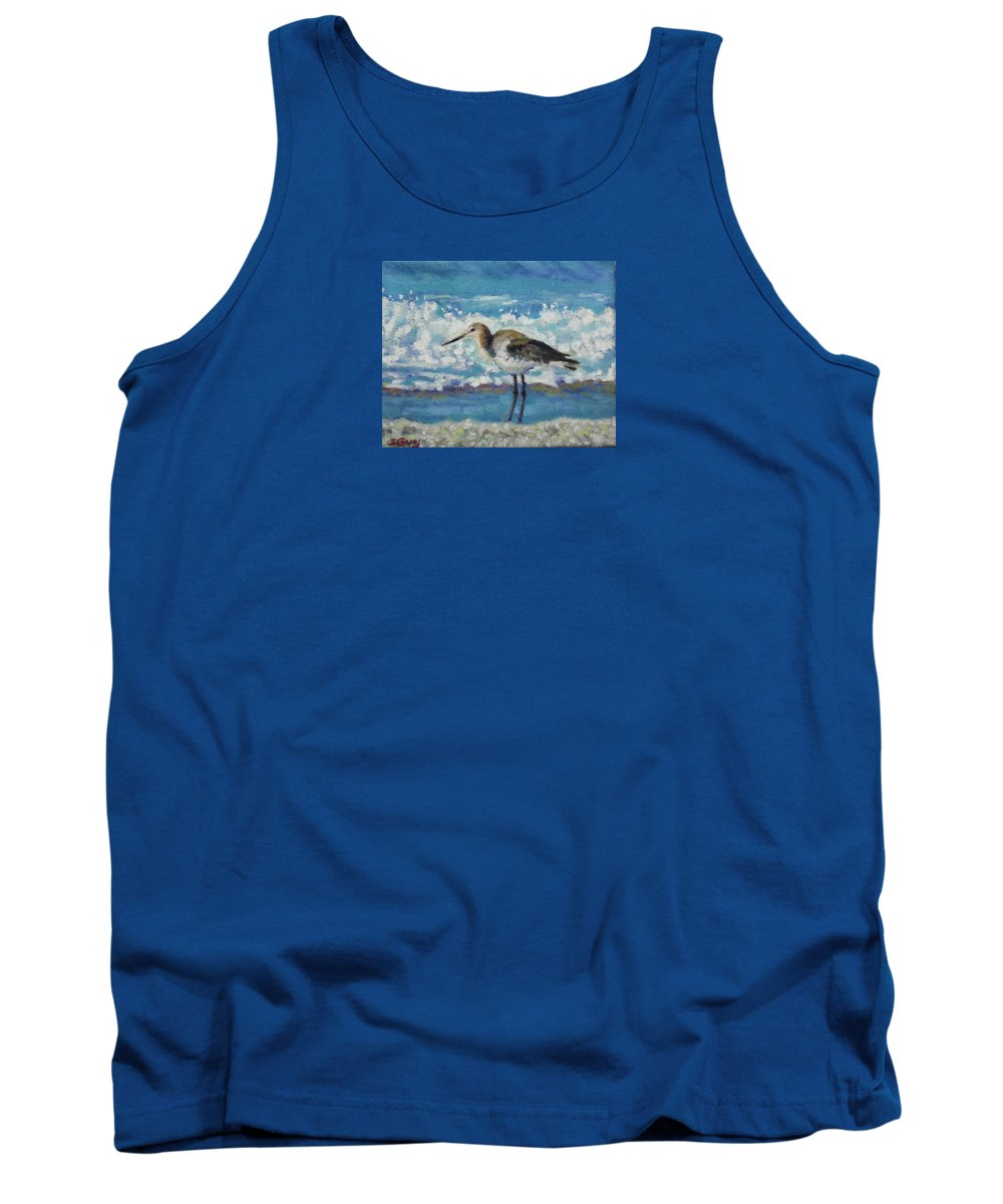 Wildlife Tank Top featuring the painting Willet by Sharon Guy