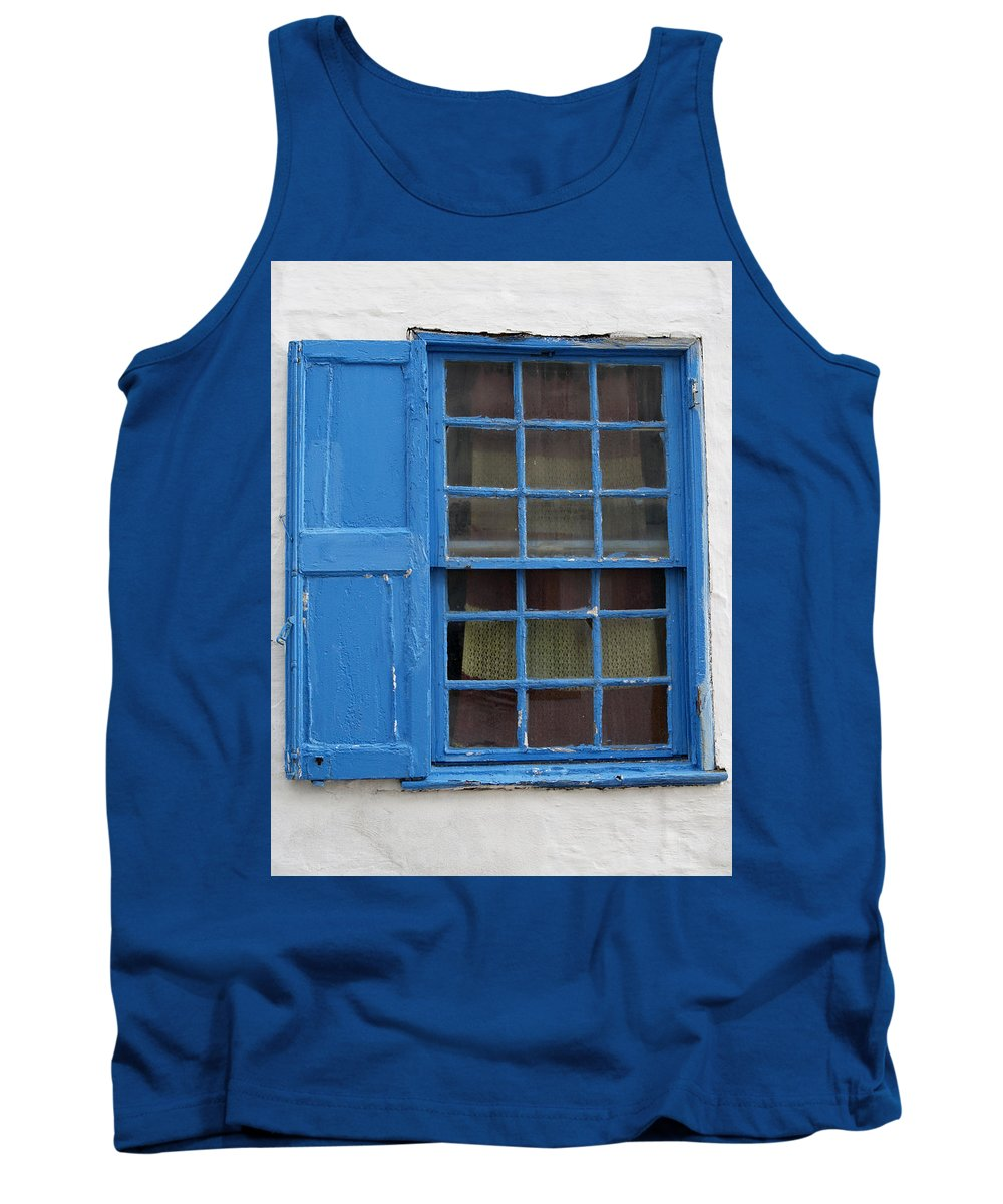 White Tank Top featuring the photograph window in blue - British style window in a mediterranean blue by Pedro Cardona Llambias