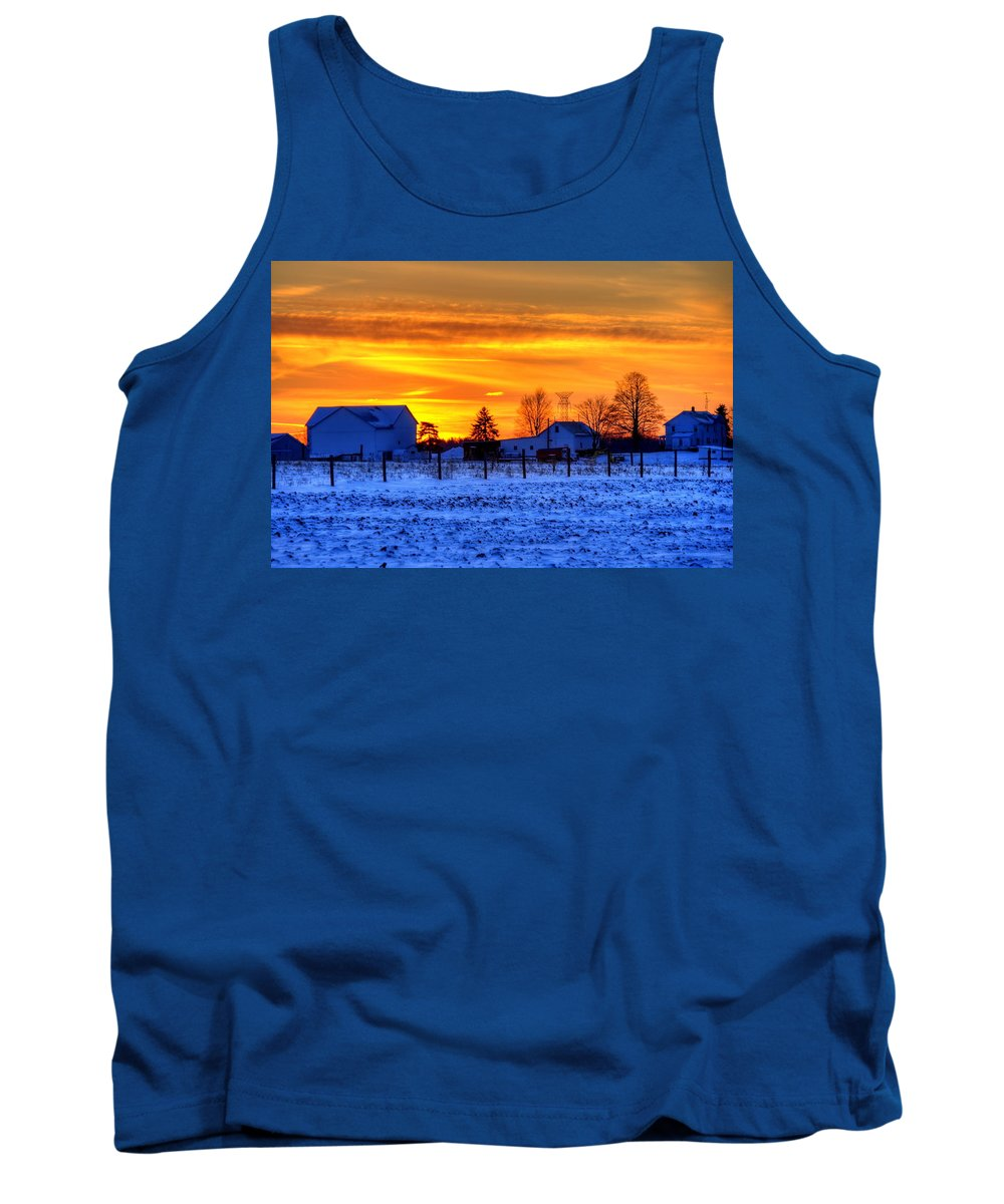 Farm Tank Top featuring the photograph Winter Country Sunset by David Dufresne