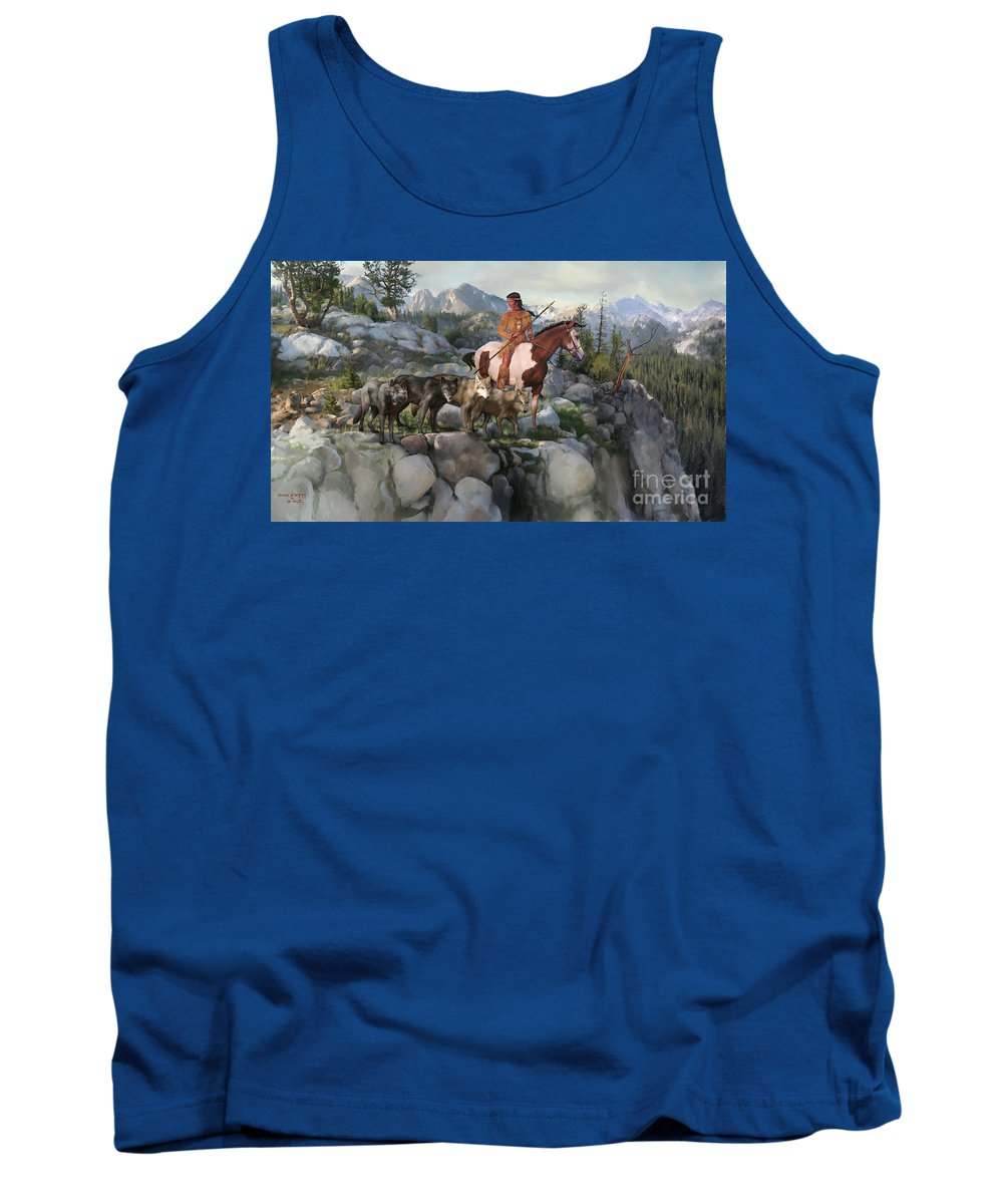 Idaho Tank Top featuring the painting Wolf Maiden by Rob Corsetti
