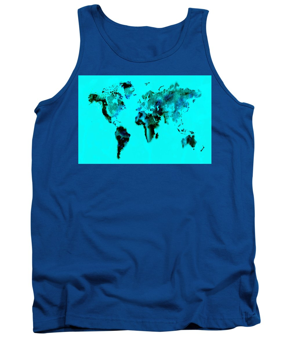 Splats Tank Top featuring the digital art World Map 15 by Brian Reaves