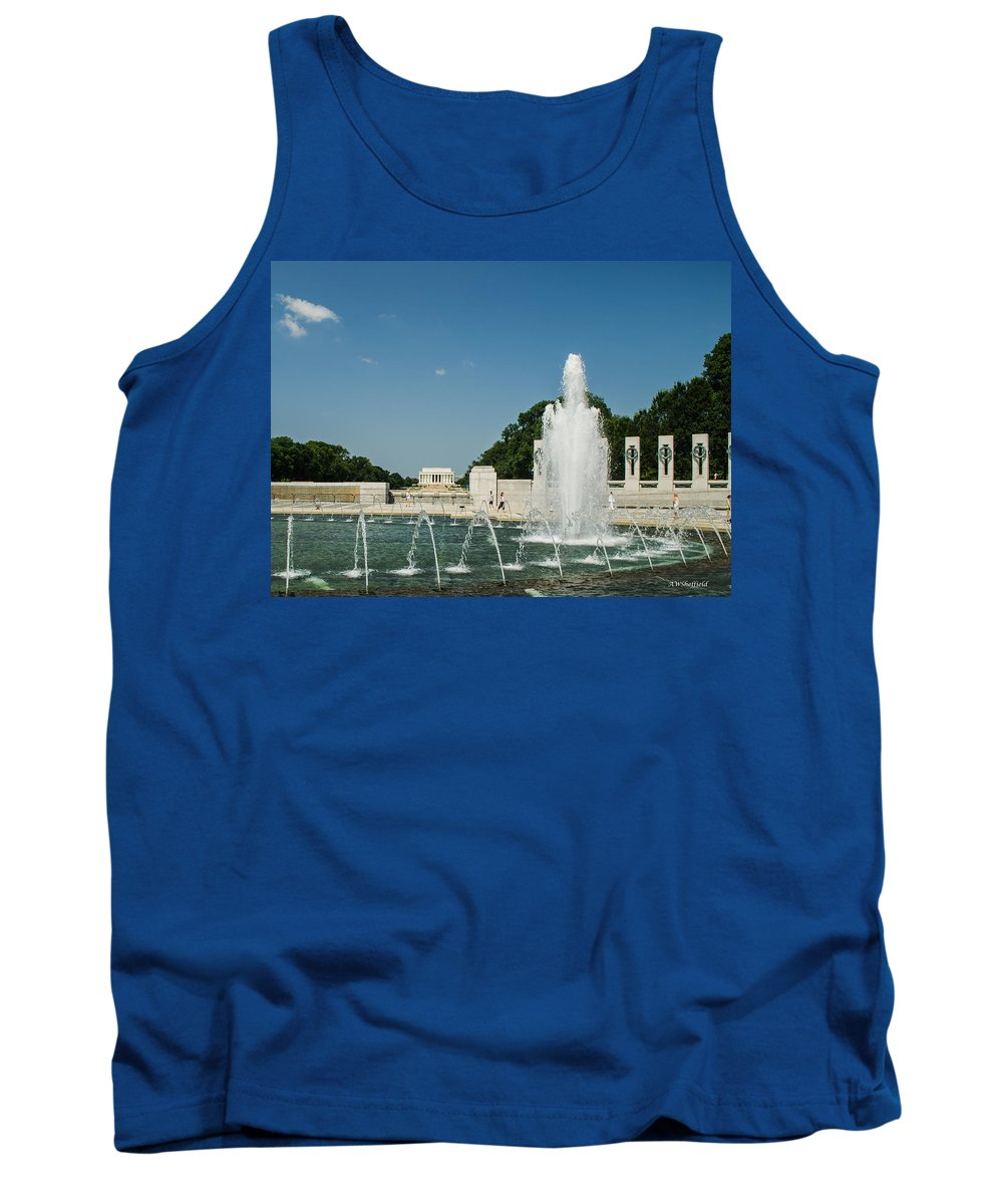 Washington Tank Top featuring the photograph World War II Monument With Lincoln Monument by Allen Sheffield