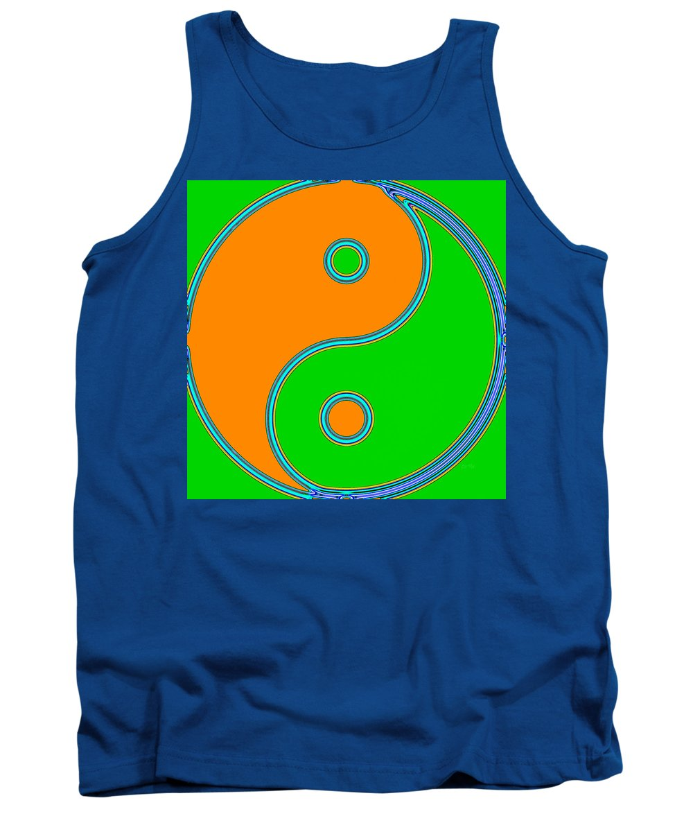 Balance Tank Top featuring the painting Yin Yang Orange Green Pop Art by Eti Reid