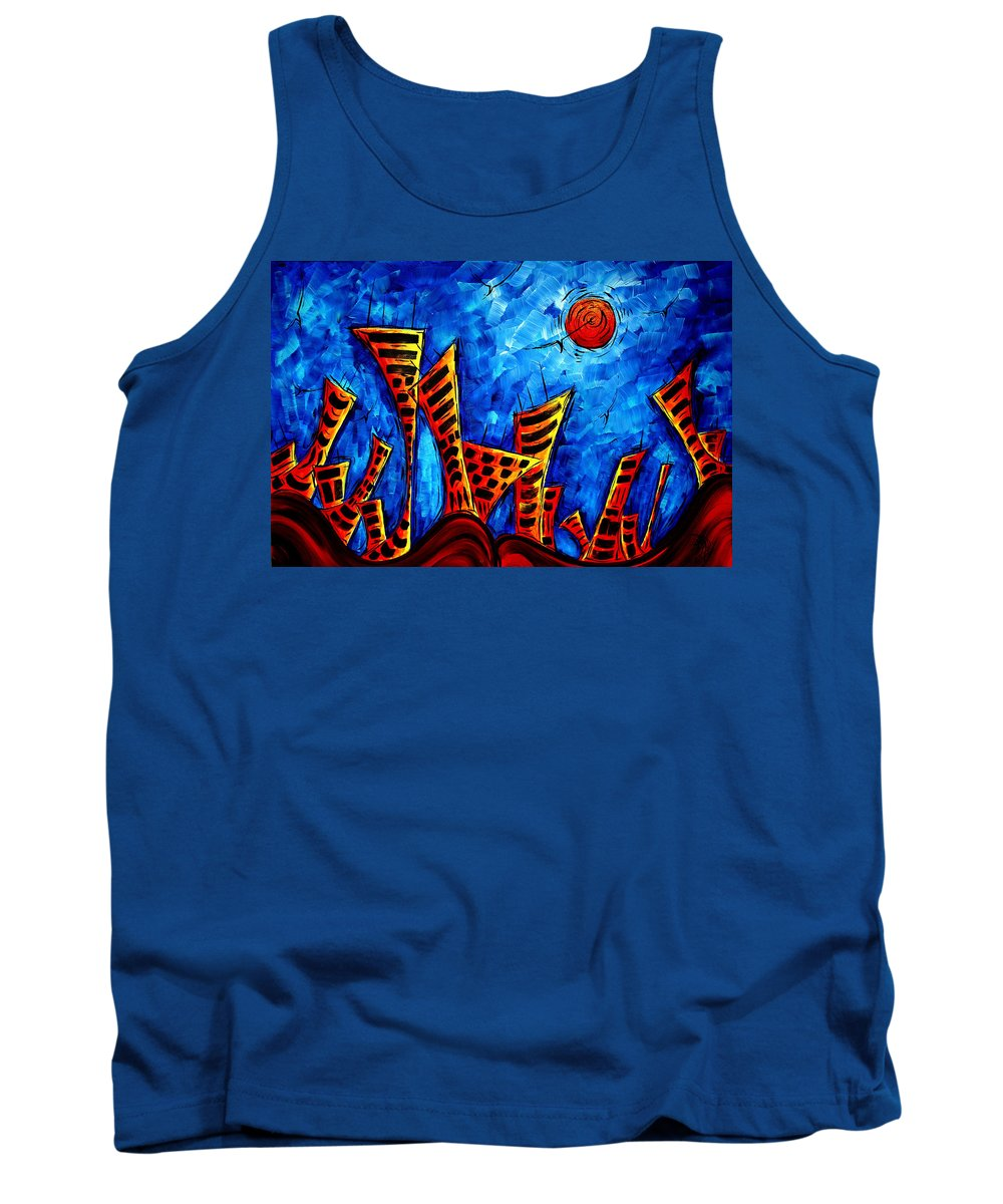 Abstract Tank Top featuring the painting Abstract Cityscape Art Original City Painting The Lost City II By Madart by Megan Duncanson
