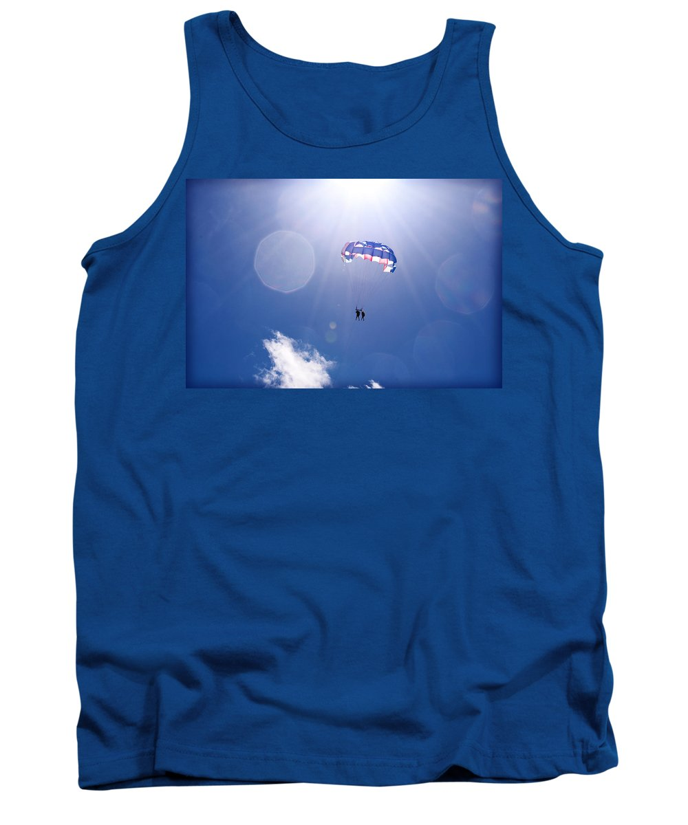 Blue Tank Top featuring the photograph Blue Sky Holiday by Christine Stonebridge