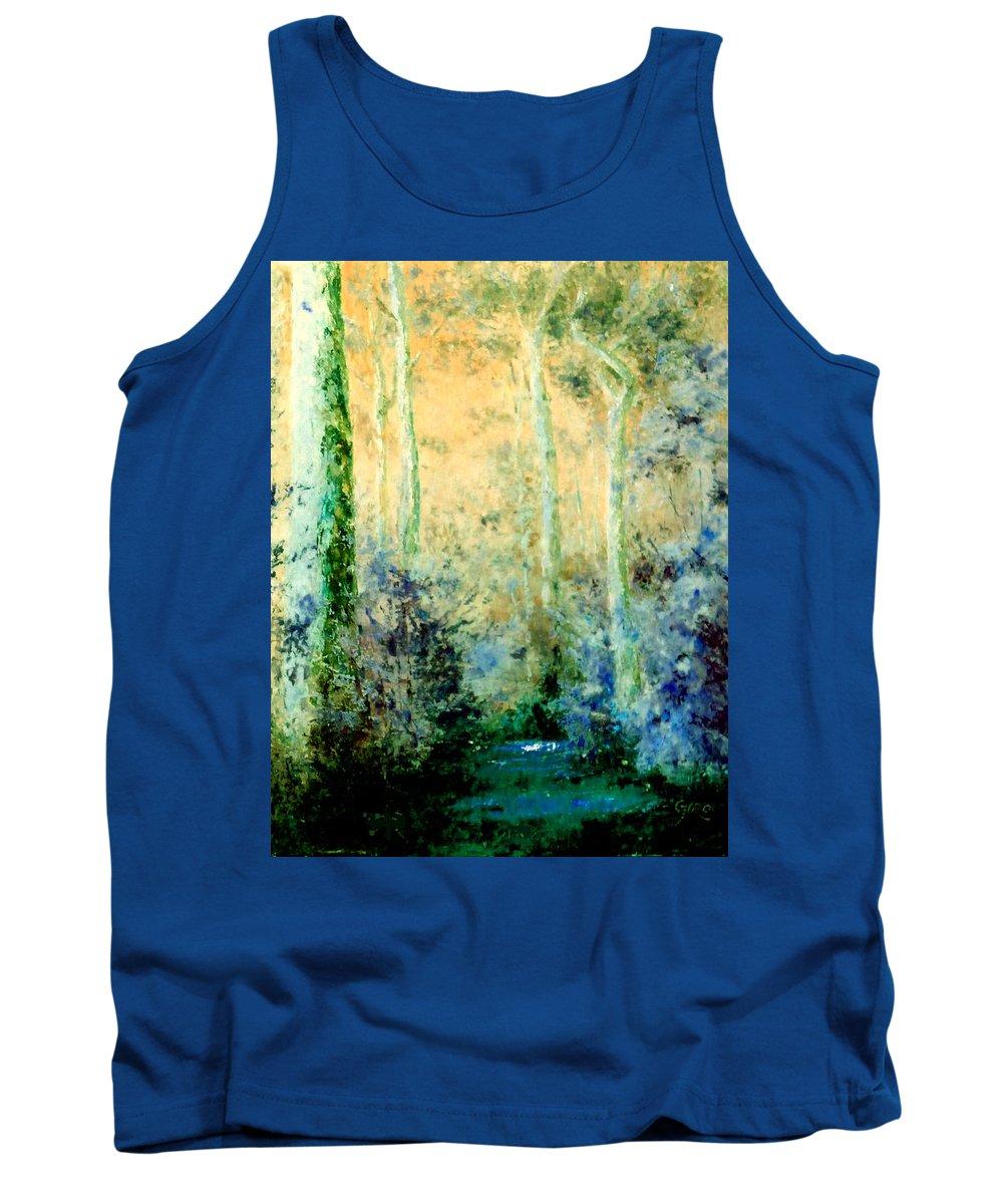 Australian Tank Top featuring the painting Bush Trail At Sunrise by Giro Tavitian