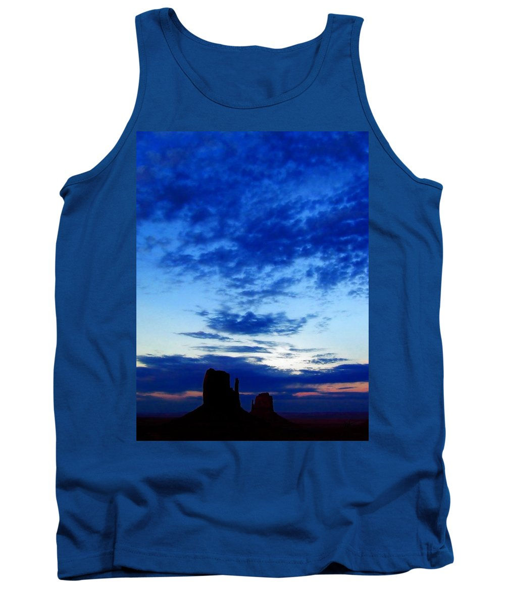Tank Top featuring the photograph Cloudy Blue Monument by Mark Valentine