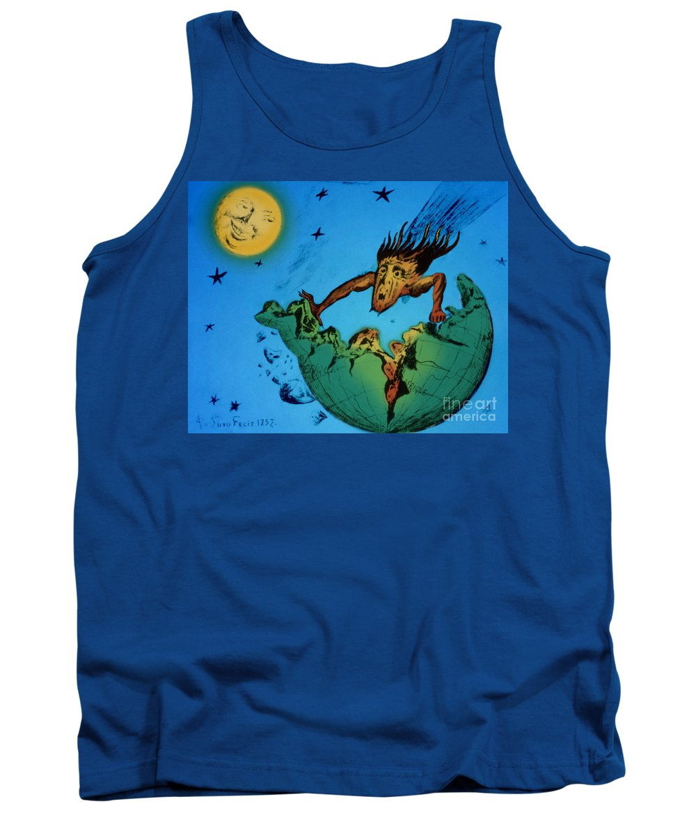 Illustration Tank Top featuring the photograph Comet Colliding With Earth by Science Source ASP