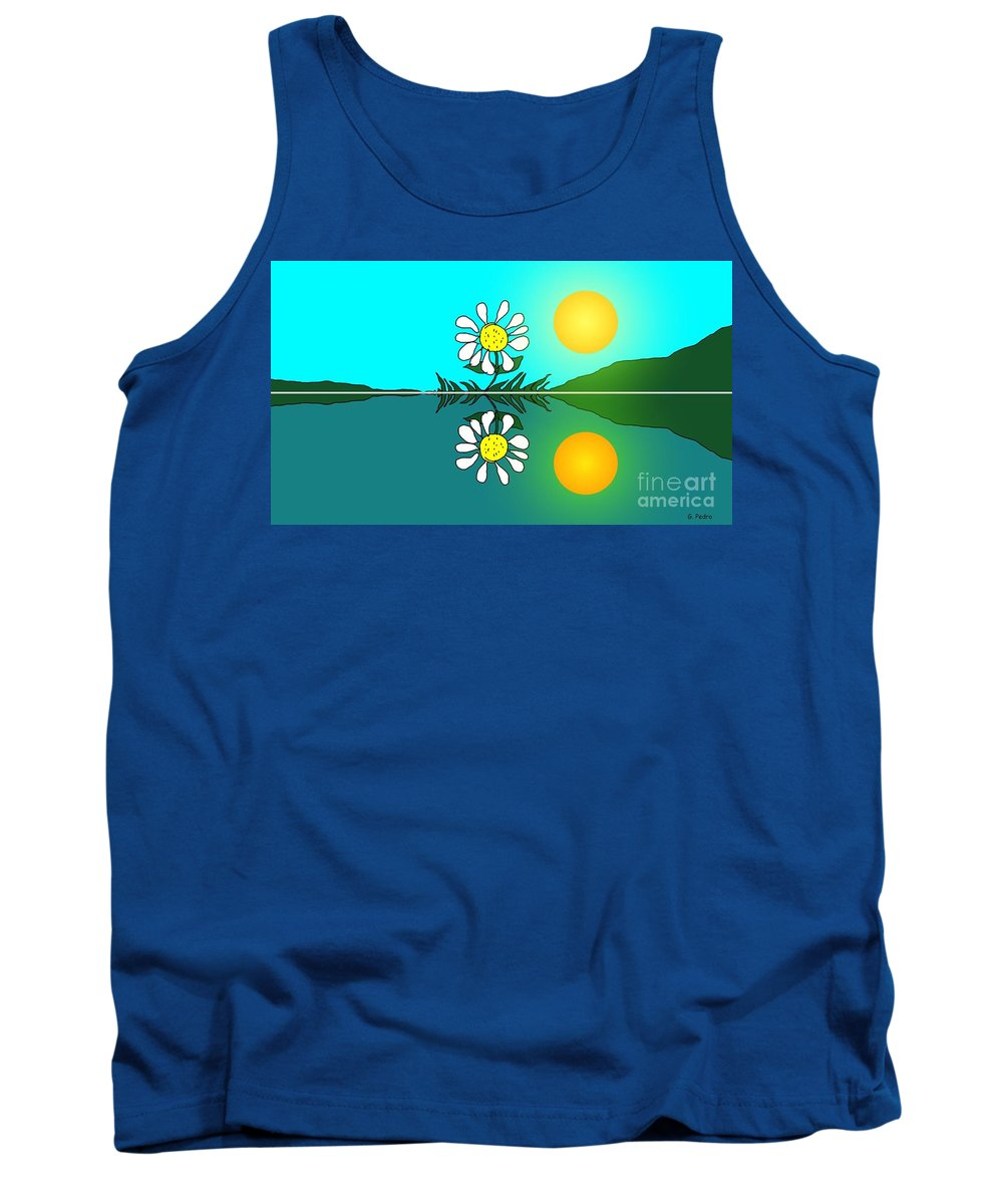 Daisy Tank Top featuring the painting Daisy Sunrise by George Pedro