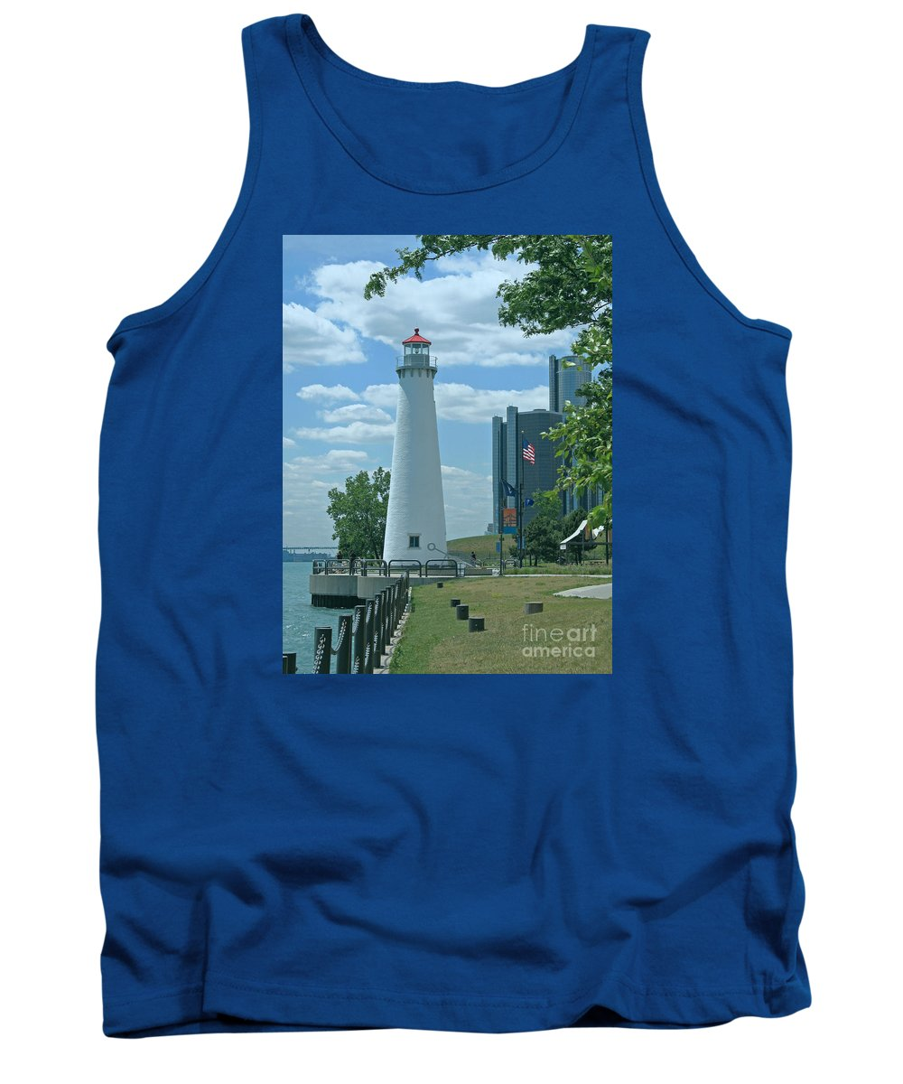 Detroit Tank Top featuring the photograph Downtown Detroit Lighthouse by Ann Horn