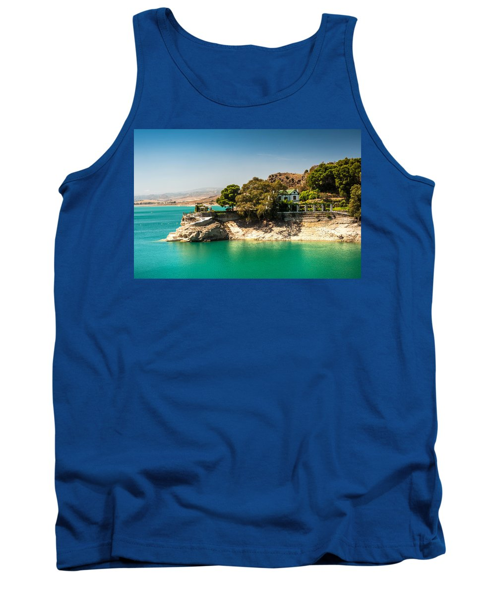 Jenny Rainbow Fine Art Photography Tank Top featuring the photograph Duke House In El Chorro Lake District. Spain by Jenny Rainbow