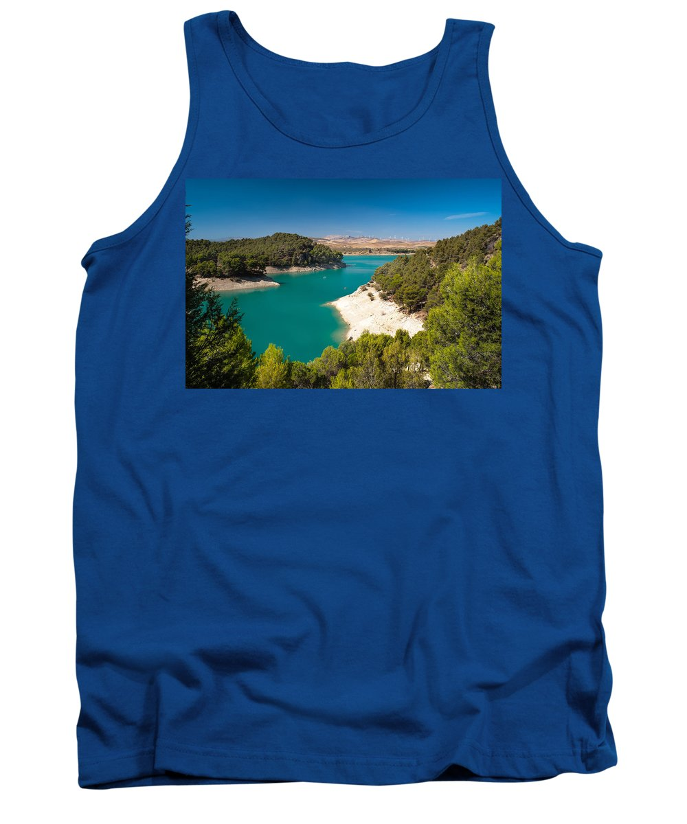 Nature Tank Top featuring the photograph Emerald Lake. El Chorro. Spain by Jenny Rainbow
