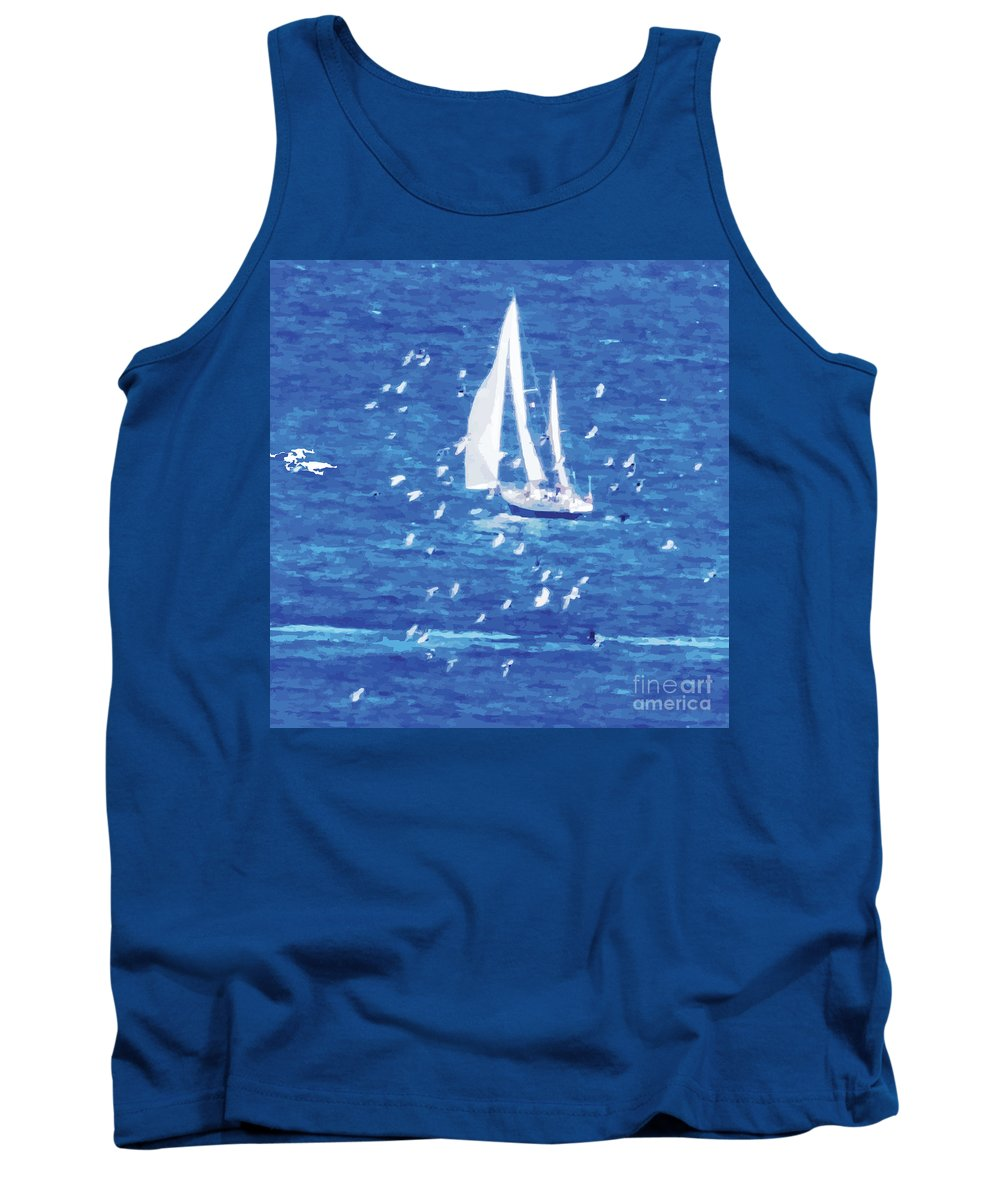 Sailing Tank Top featuring the digital art Escorted By Seagulls by Alfie Borg