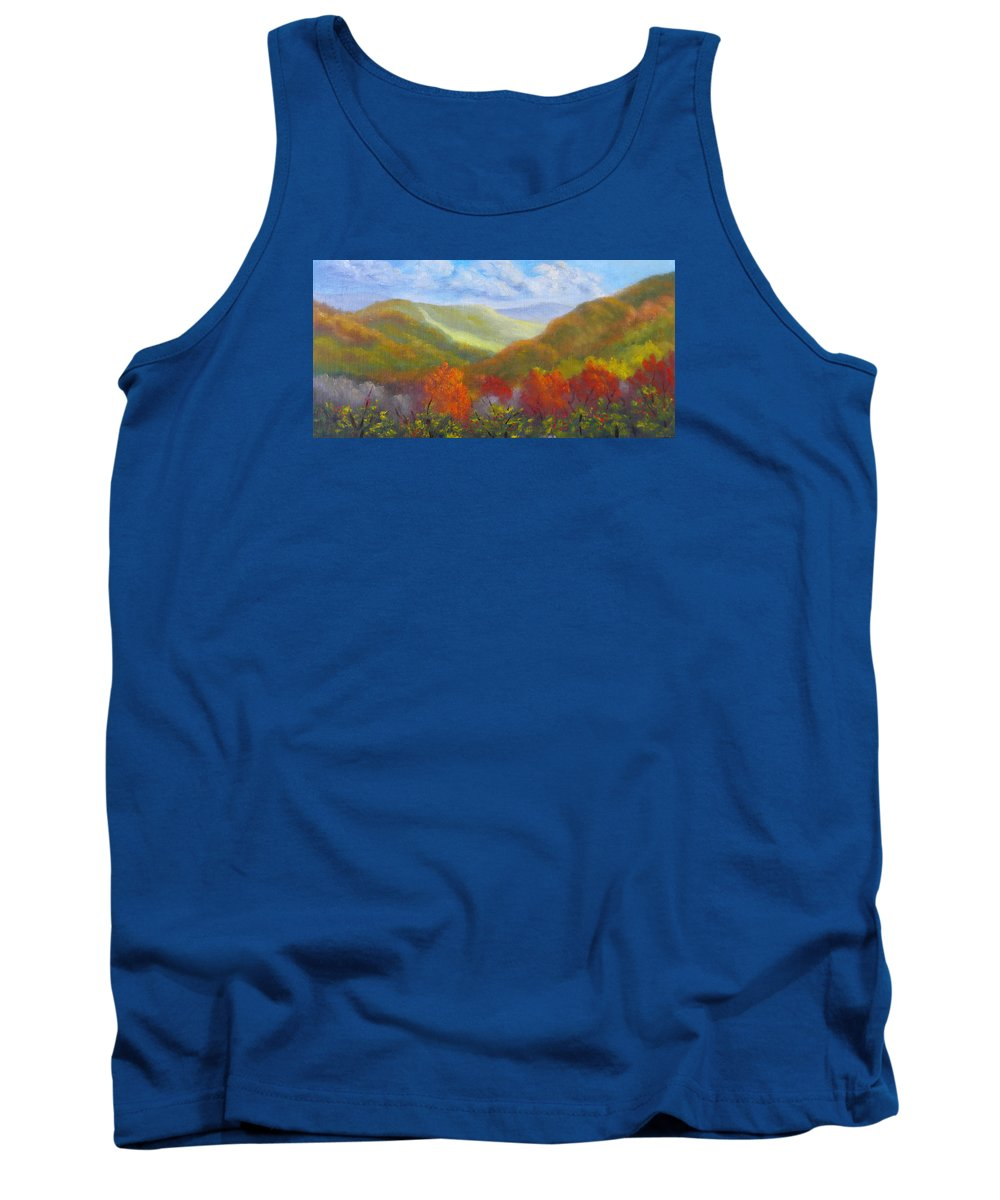 Mountains Tank Top featuring the painting Fall Glow from Bear Notch Road by Sharon E Allen