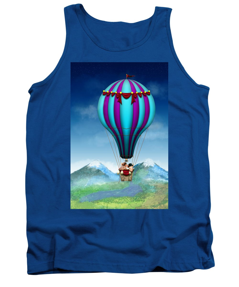 Pig Tank Top featuring the photograph Flying Pig - Balloon - Up Up And Away by Mike Savad