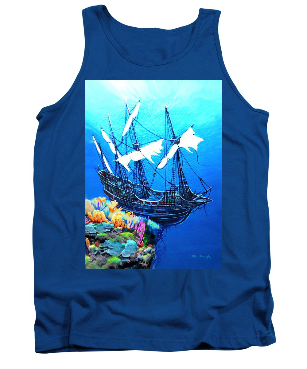 Duane Mccullough Tank Top featuring the painting Galleon On The Cliff Filtered by Duane McCullough