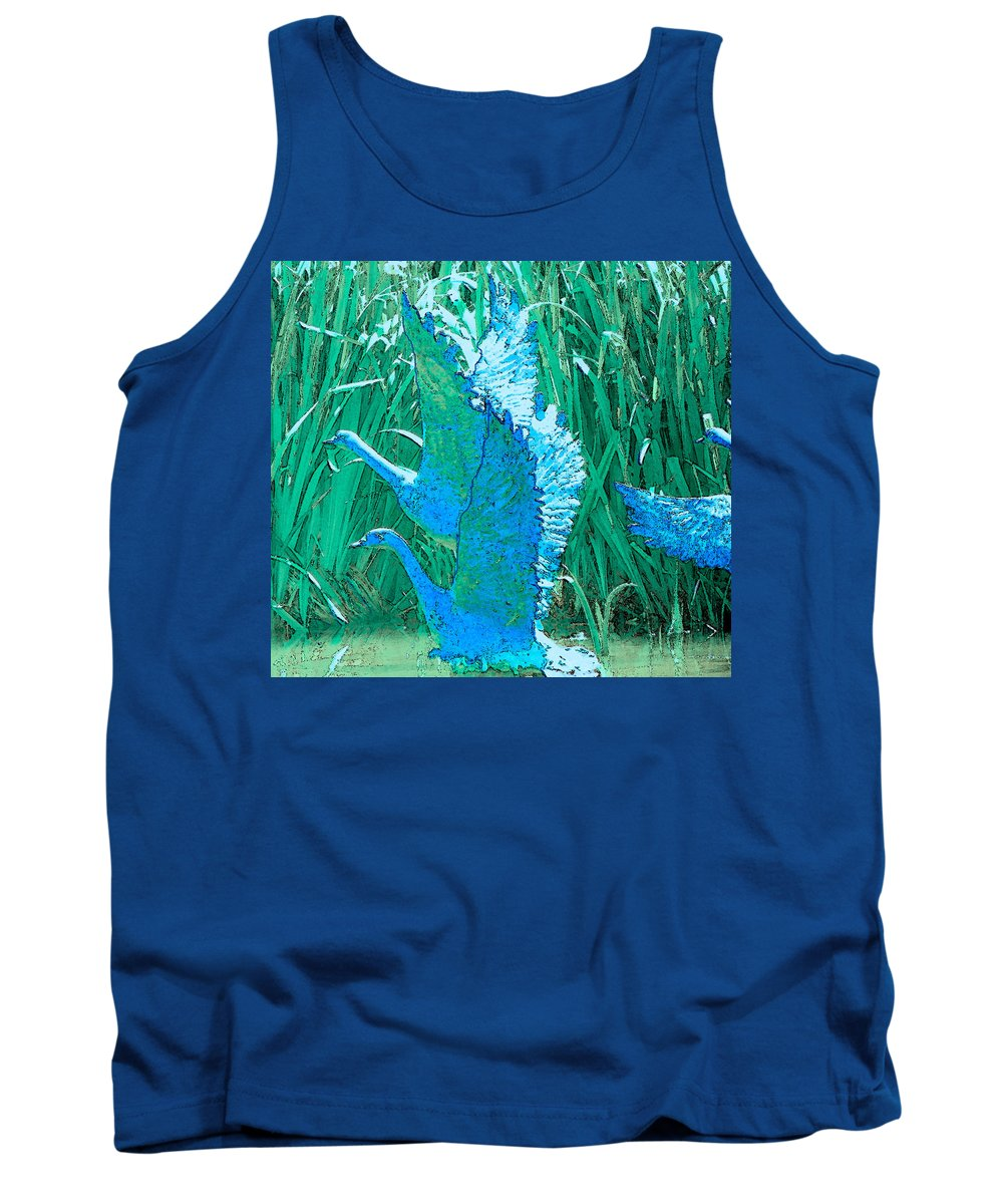 Abstract Tank Top featuring the photograph Geese At The River by Lenore Senior