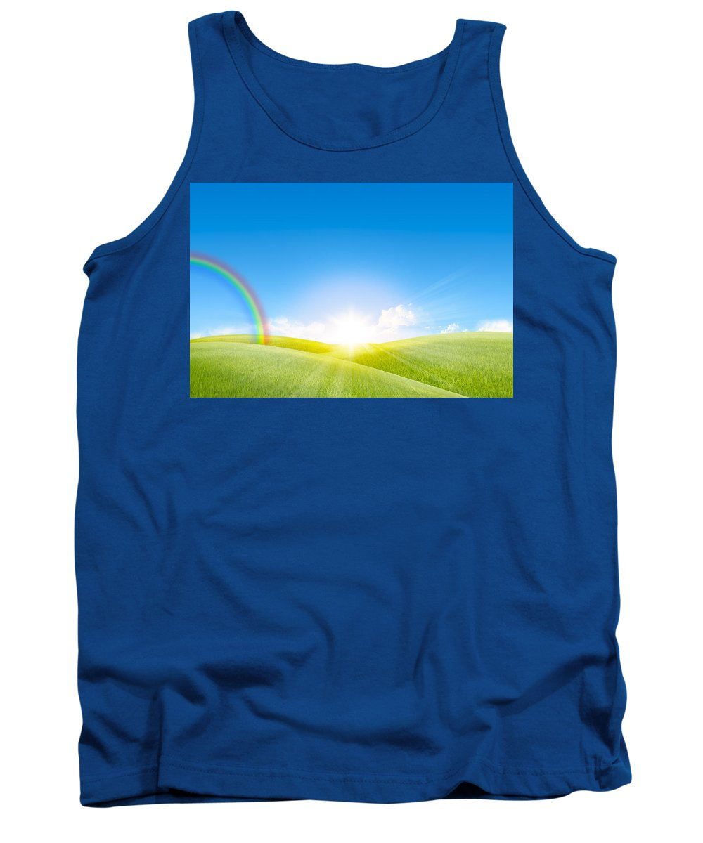Agriculture Tank Top featuring the photograph Grassland In The Sunny Day With Rainbow by Setsiri Silapasuwanchai