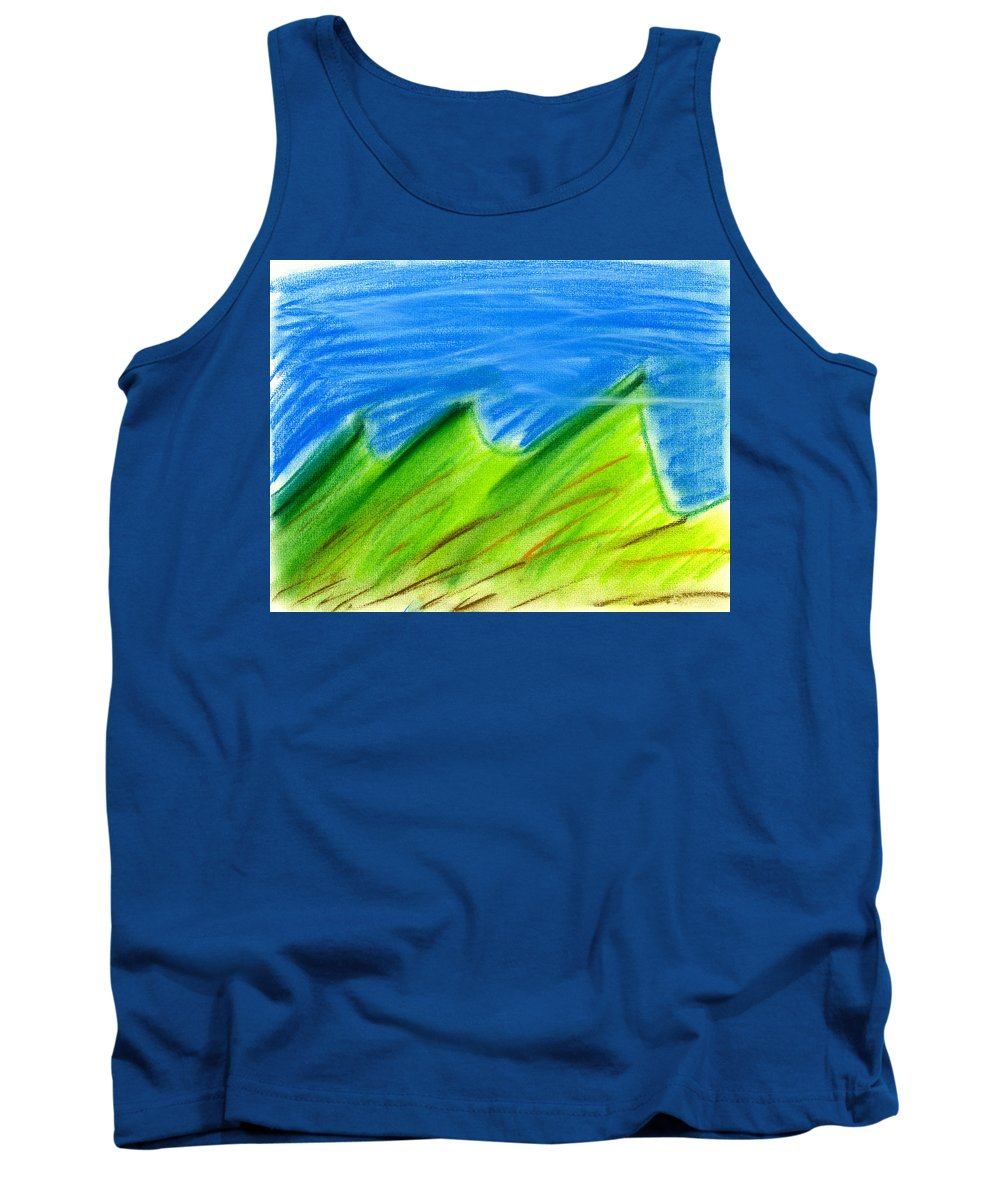 Pastel Tank Top featuring the painting Green Hills by Hakon Soreide