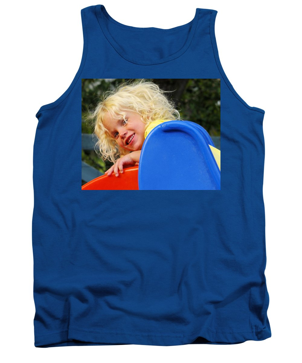 Child Tank Top featuring the photograph Helena On The Slide by John Greaves
