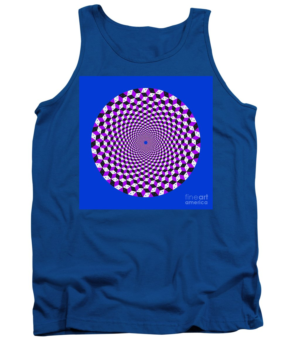 Mandala Tank Top featuring the digital art Mandala Figure Number 5 With Rhombus Steps In Black And White And Purple by Marcus West