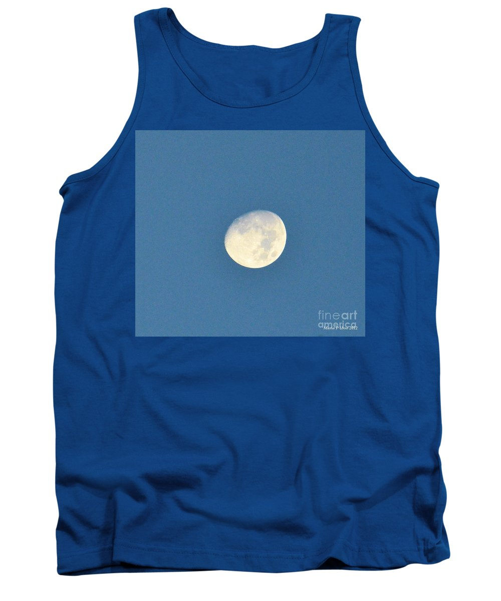 Moon Tank Top featuring the photograph Moon Before Dark by Maria Urso