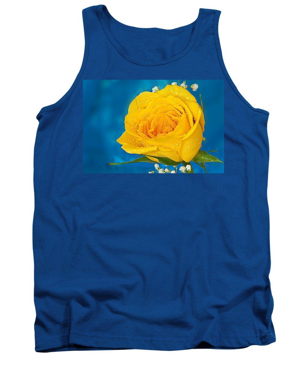 Yellow Rose Rain Drops Tank Top featuring the photograph Rain On A Yellow Rose by Randall Branham