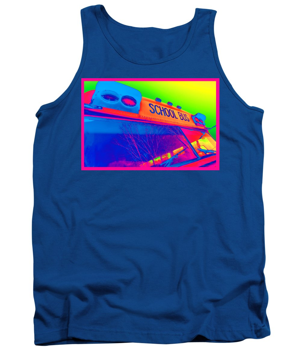 Colorful Tank Top featuring the photograph School Bus by Gordon Dean II