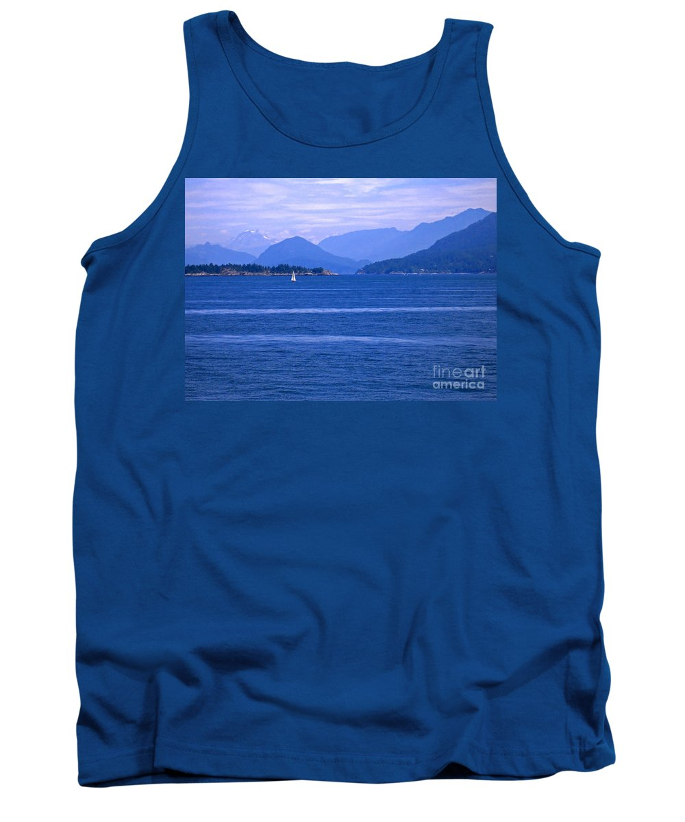 Sailboat Tank Top featuring the photograph Solitary Sailing by Ann Horn