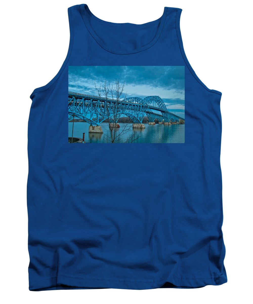 Bridge Tank Top featuring the photograph South Grand Island 3329 by Guy Whiteley