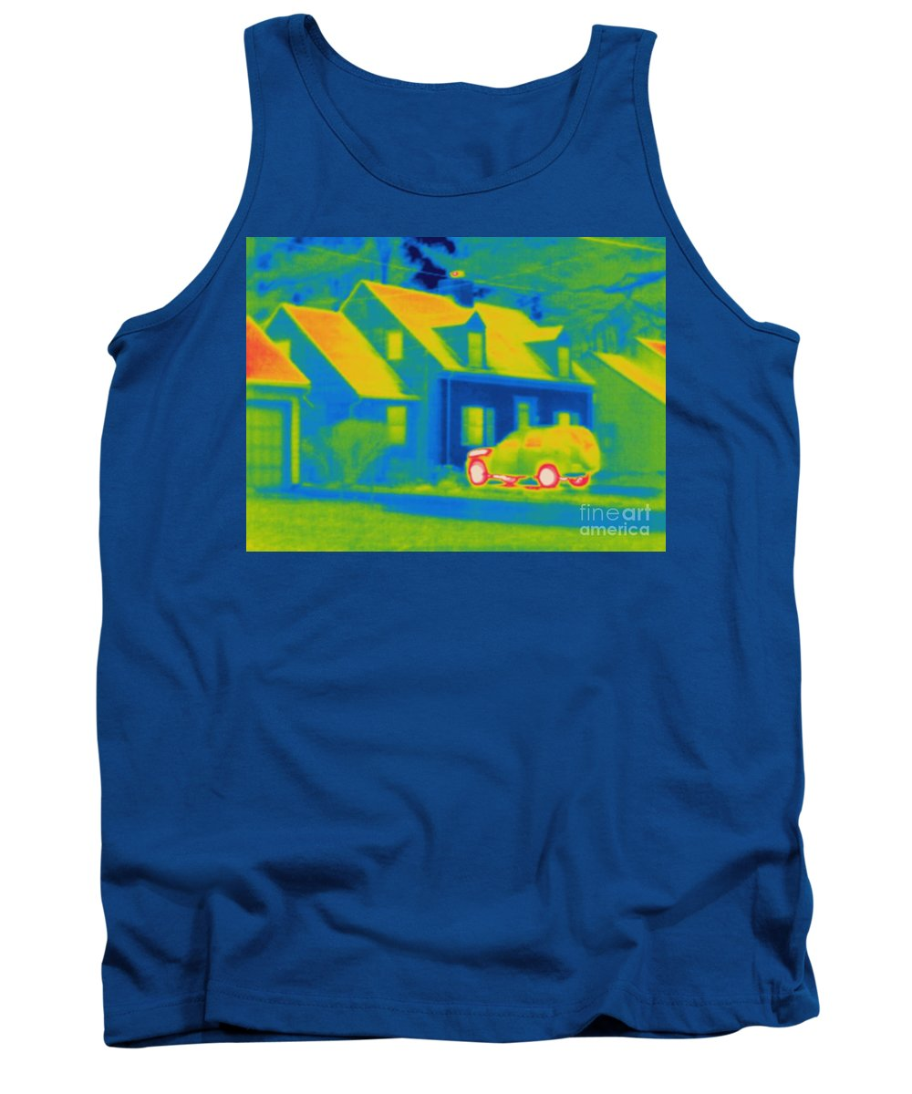 Thermogram Tank Top featuring the photograph Thermogram Of Car In Front Of A House by Ted Kinsman