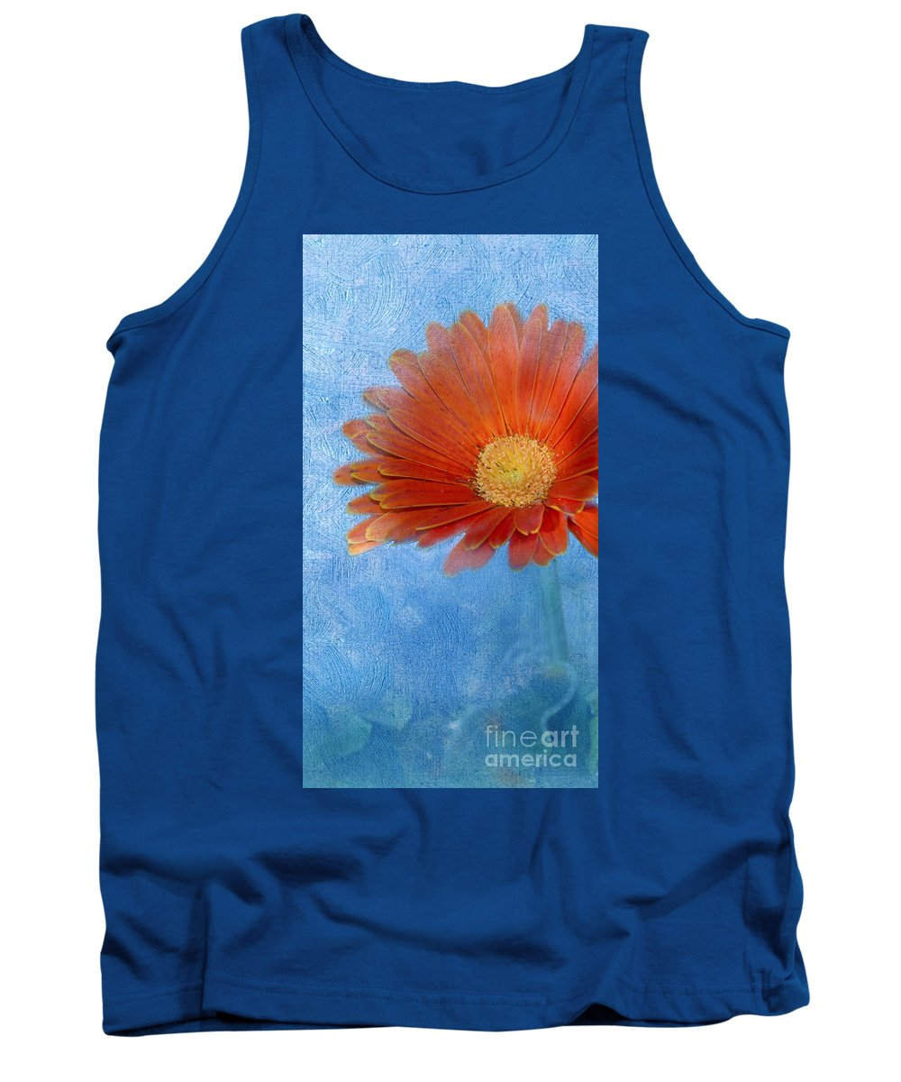 Triptych Tank Top featuring the photograph Triptych Gerbera Daisy-one by Betty LaRue