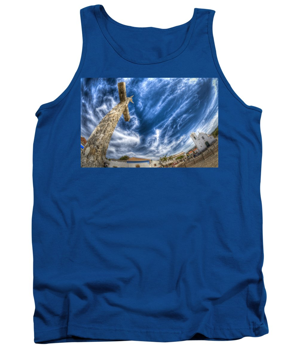 Algarve Tank Top featuring the photograph Village Cross by Nathan Wright