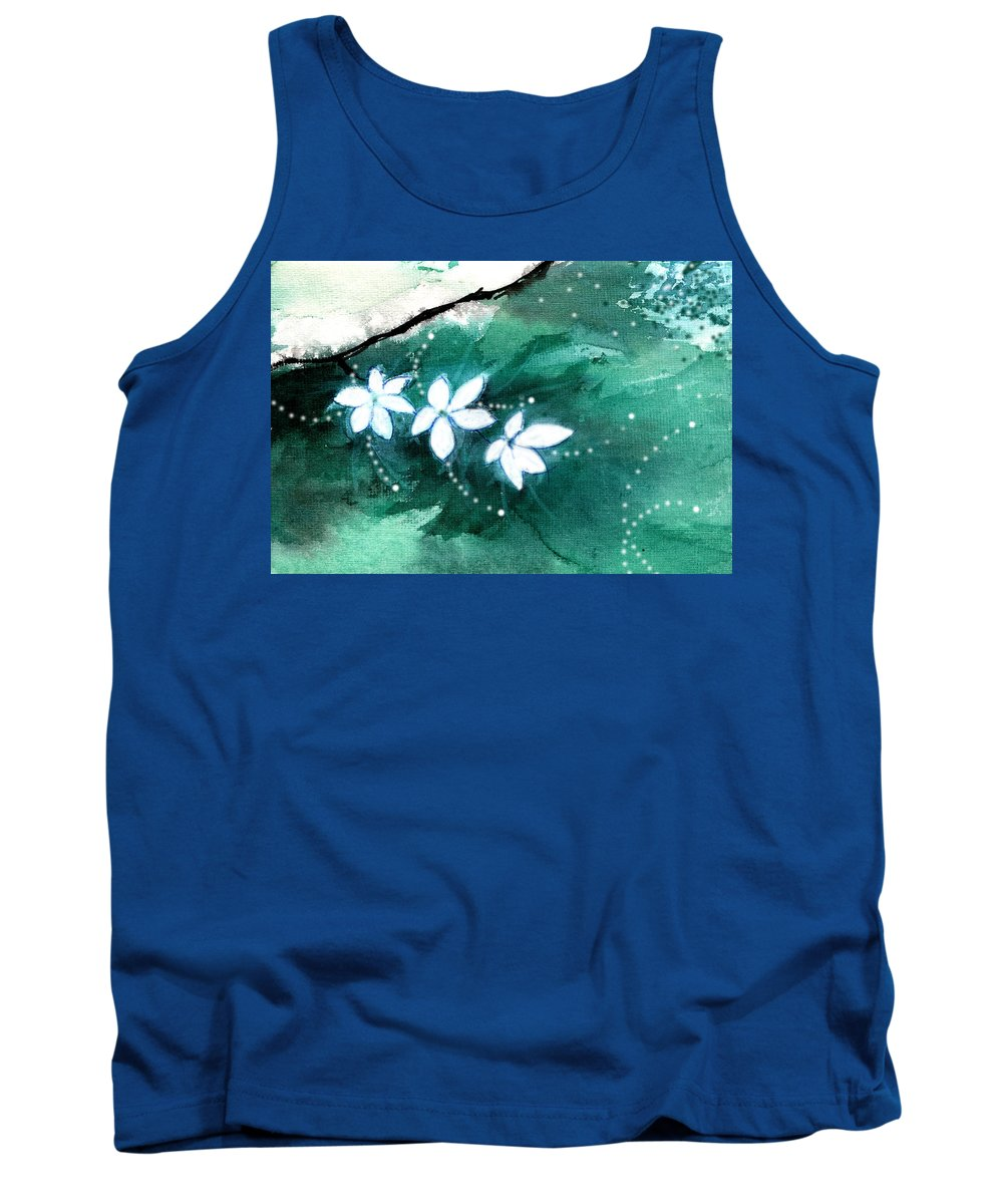 Nature Tank Top featuring the painting White Flowers by Anil Nene