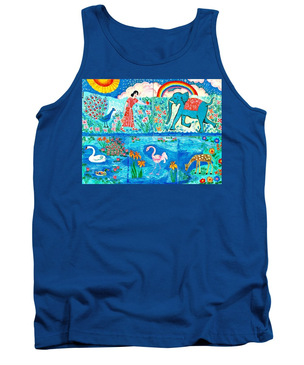 Elephant Tank Top featuring the painting Woman And Blue Elephant Beside The Lake by Sushila Burgess