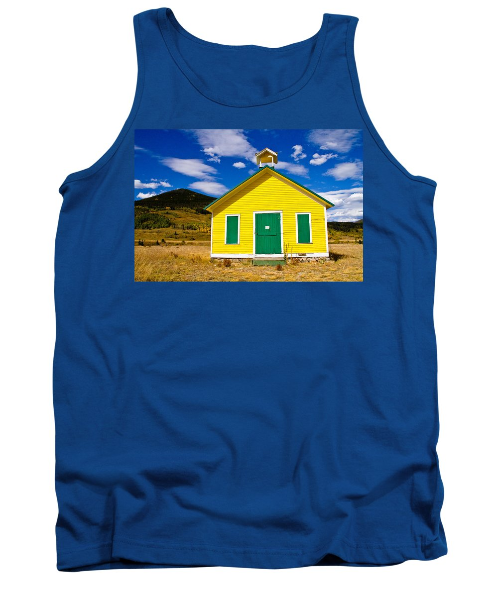 Blue Tank Top featuring the photograph Yellow Western School House by James BO Insogna