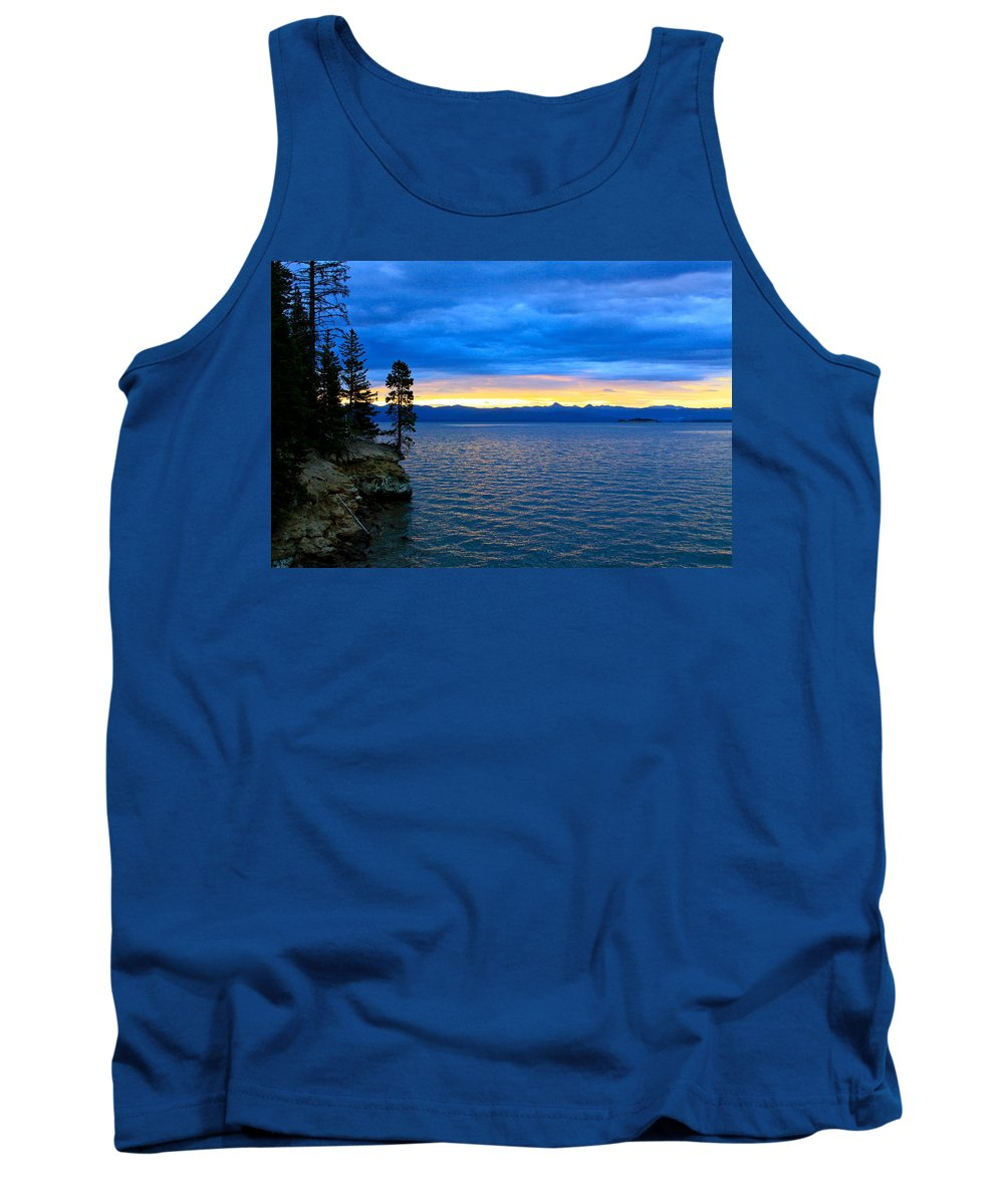 Blue Tank Top featuring the photograph Yellowstone Lake Sunrise by Karon Melillo DeVega