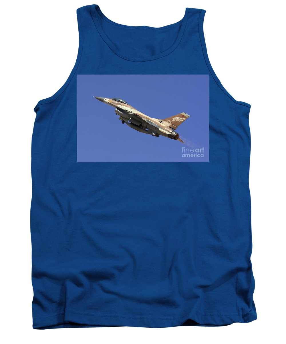 Aircraft Tank Top featuring the photograph Iaf F-16a Fighter Jet On Blue Sky by Nir Ben-Yosef