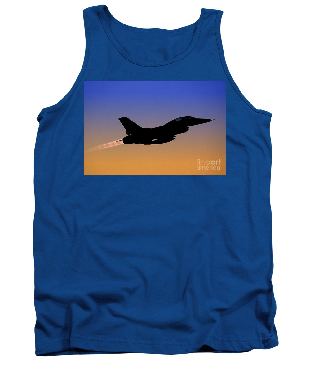 Aircraft Tank Top featuring the photograph Iaf F-16b Fighter Jet At Sunset by Nir Ben-Yosef