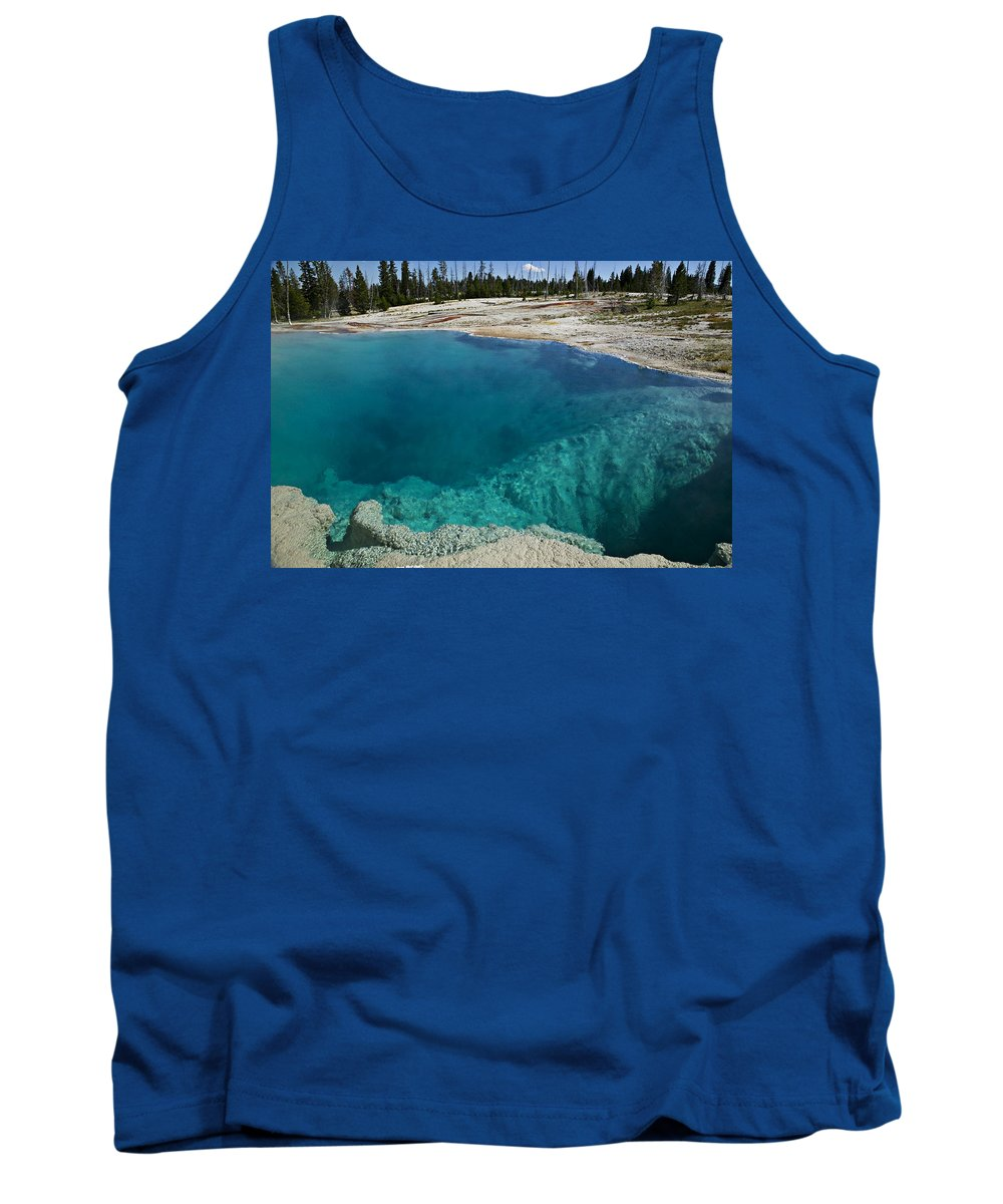 Hot Tank Top featuring the photograph  Turquoise Hot Springs Yellowstone by Garry Gay