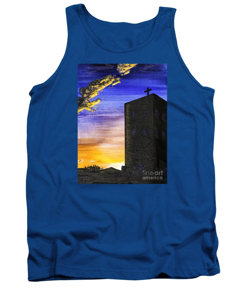 Acrylic Paintings Tank Top featuring the painting Adobe Church by Timothy Hacker