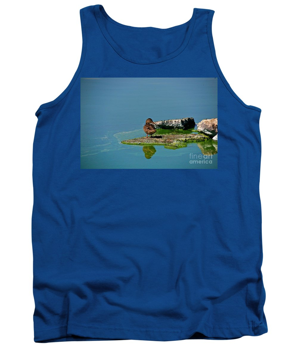 Duck Tank Top featuring the photograph Alone by Robert Pearson