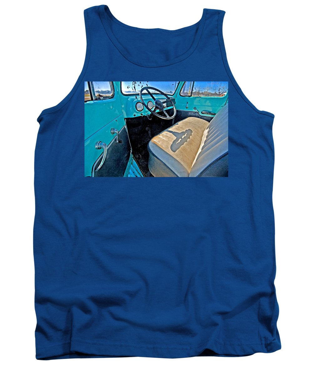 Truck Tank Top featuring the painting Blue Ford Pickup Truck by Michael Thomas
