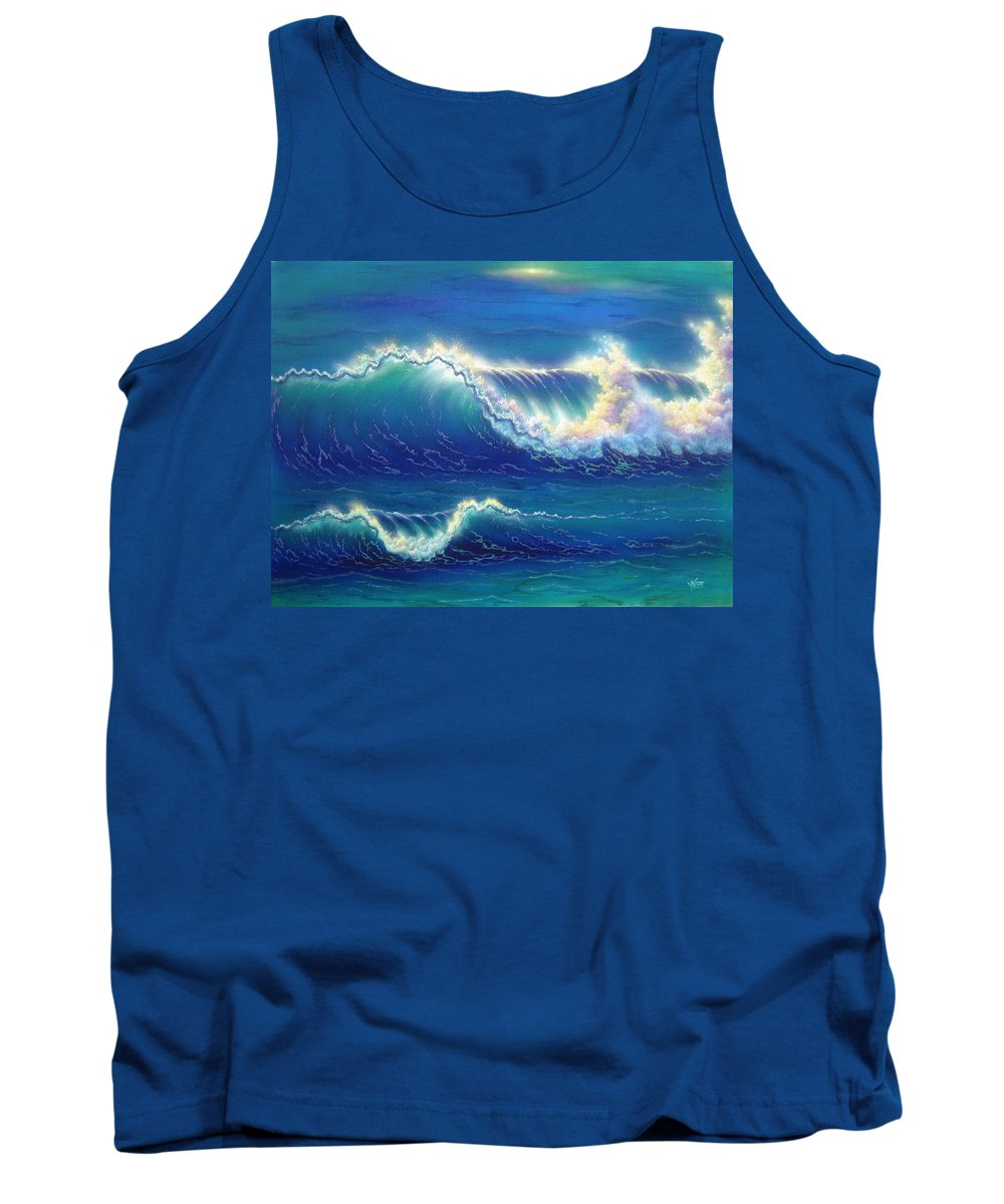 Blue Tank Top featuring the painting Blue Thunder by Angie Hamlin